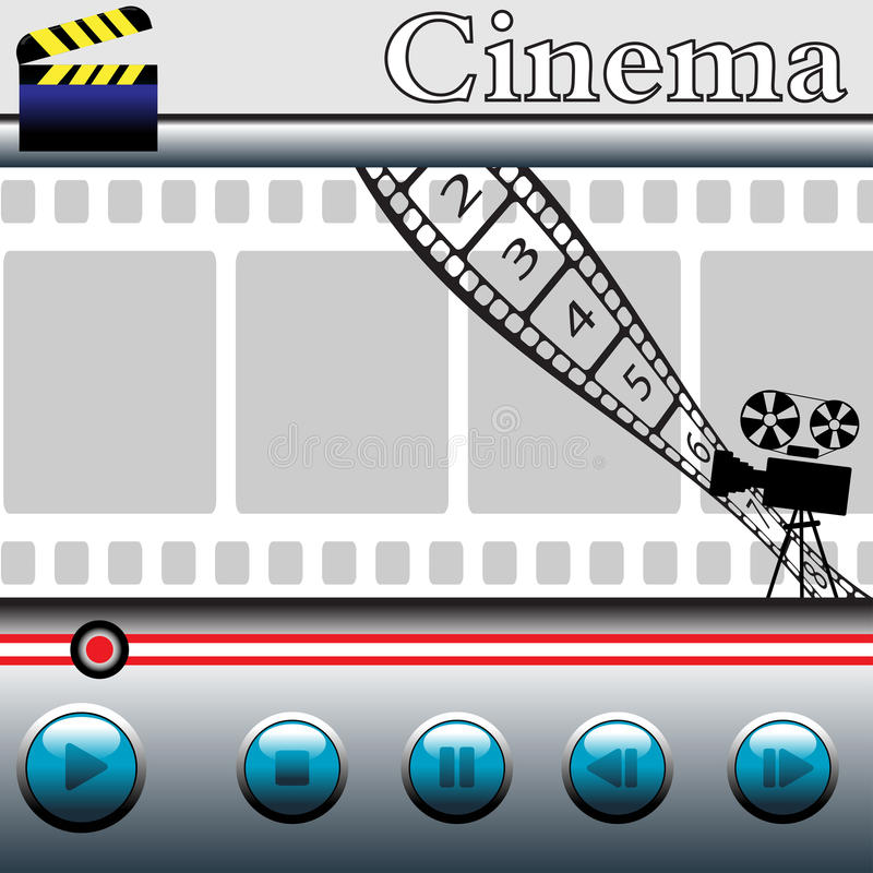 Watching movies. Abstract colorful illustration with movie player with blue buttons, clapboard, numbered filmstrip, movie projector and the word cinema written stock illustration