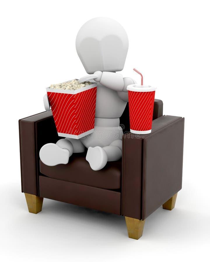 Watching movies at home royalty free illustration