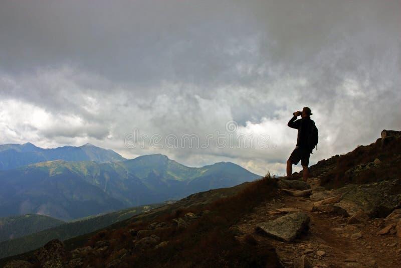 Watching the nature through binoculars royalty free stock photo