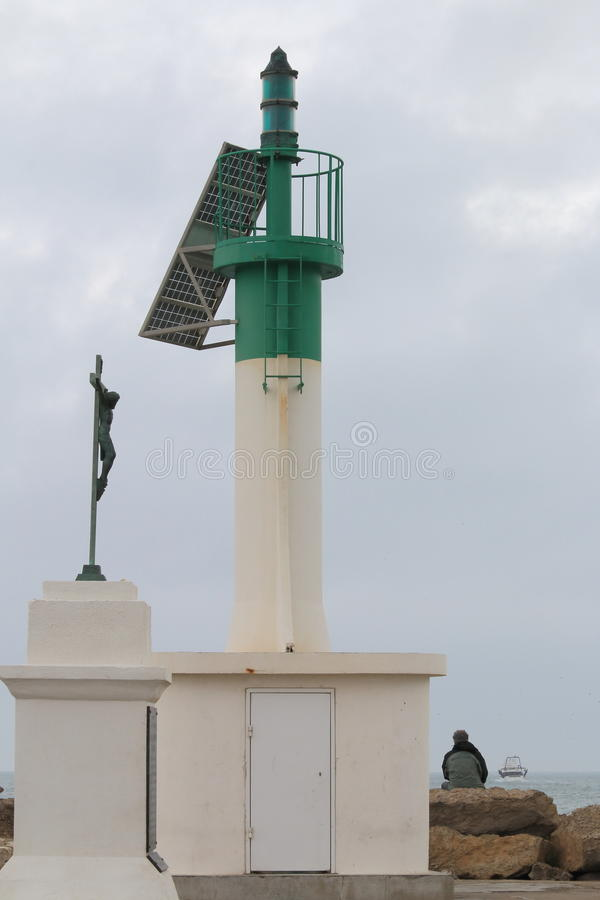 Watching over sea, Le Grau-du-Roi harbour, France stock photos