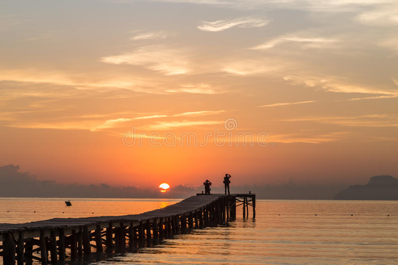 Watching the Puerto Alcudia sunrise stock images