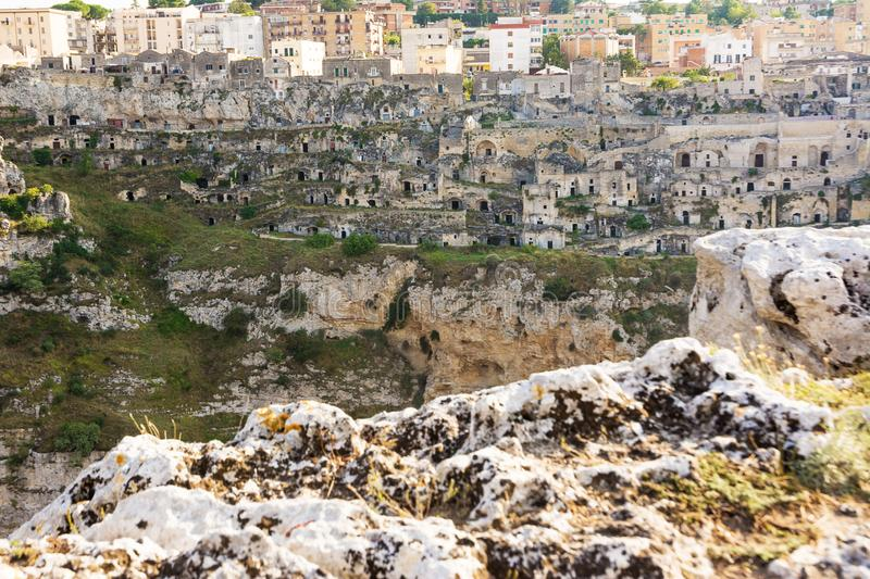 Watching the Sassi di Matera. From the opposite hill royalty free stock image