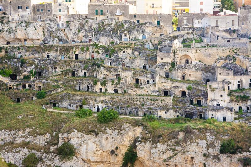 Old Houses of the Sassi di Matera from the opposite hill. Old Houses of Sassi di Matera from the opposite hill royalty free stock photography