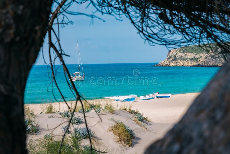 Watching the sea from the path royalty free stock image