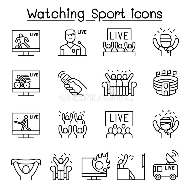 Watching sport on tv, sport broadcasting icon set in thin line style. Vector illustration graphic design vector illustration