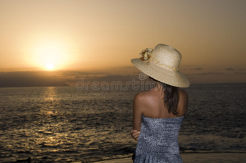 Watching the sunset royalty free stock image