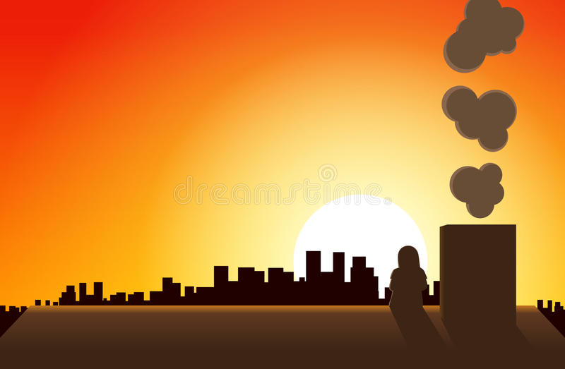 Download Watching Sunset stock vector. Image of girl, city, contemplating - 19642666