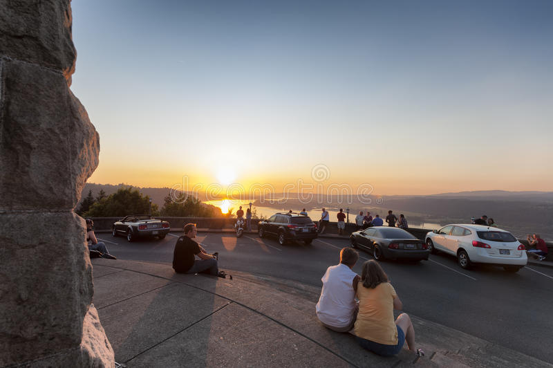 Watching Sunset At Crown Point`s Vista House Columbia River Gorge royalty free stock photo