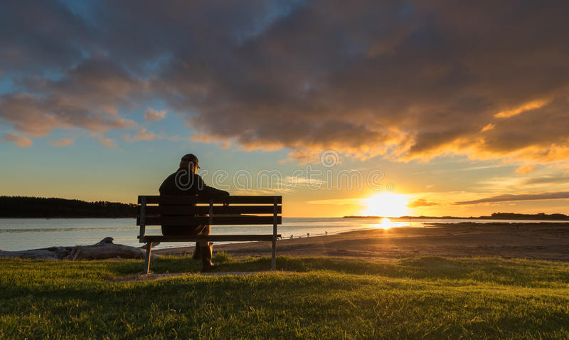 Download Watching Sunset stock image. Image of river, relaxation - 89721649