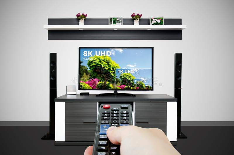 Watching television in modern TV room. Compare of television resolution. Uhd 8k television resolution ultra hd concept vector illustration