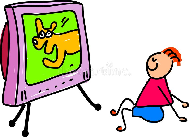 Download Watching telly stock illustration. Image of kids, technology - 675800