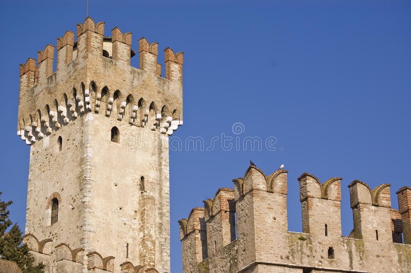 Watching Tower. The fortress in Sirmione on the Garda's lake, Italy stock photos