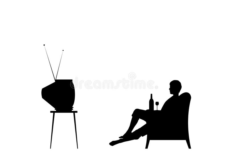 Download Watching TV stock vector. Image of resting, enjoyment - 10013432