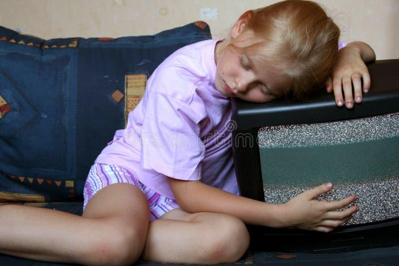 Download Watching TV stock image. Image of girl, sofa, stare, boobtube - 1091741