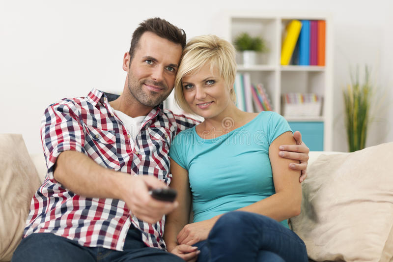 Download Watching TV stock photo. Image of affectionate, living - 37801040