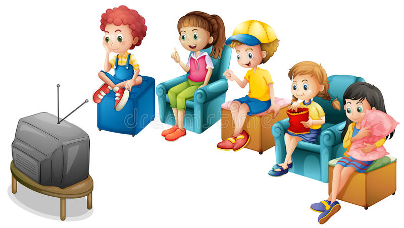 Watching TV. Boys and girls watching television on chairs vector illustration