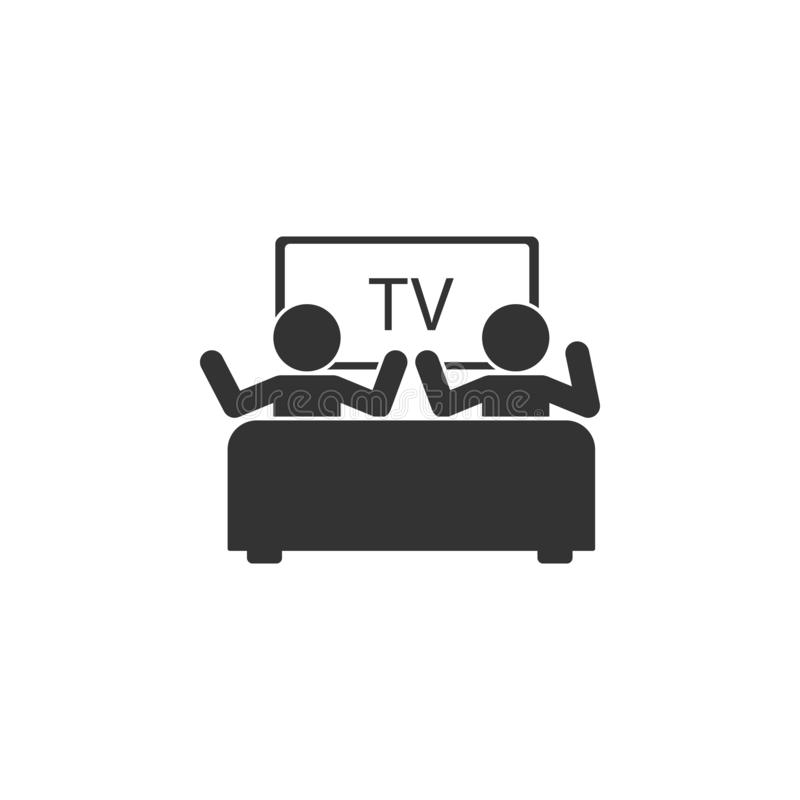 Watching TV with a friend icon. Simple glyph vector of friendship set icons for UI and UX, website or mobile application. On white background royalty free illustration