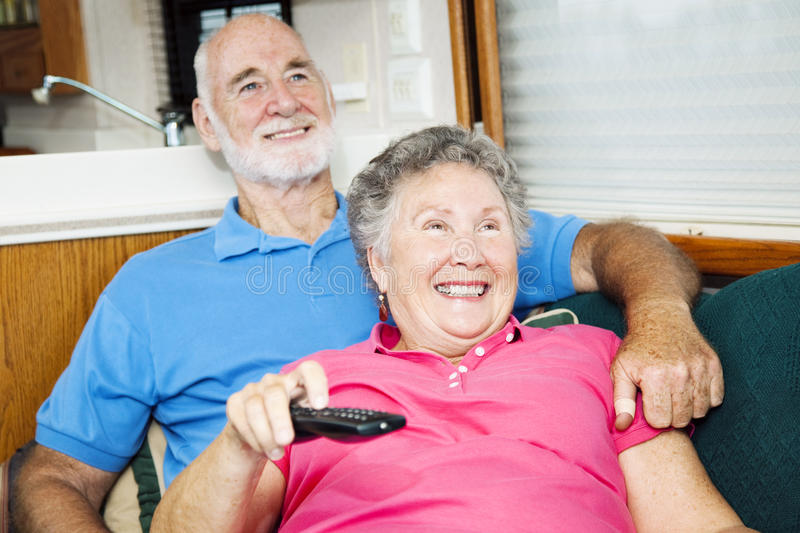 Watching TV in the Motor Home stock images