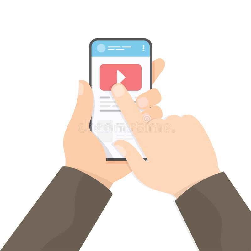 Watching video with smartphone stock illustration