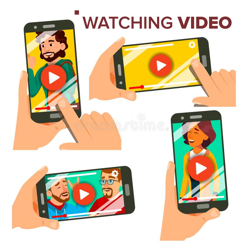 Watching Video On Smartphone Vector. Set. Mobile Phone. Red Play Symbol Button. Video Media Player Application. Isolated. Illustration stock illustration