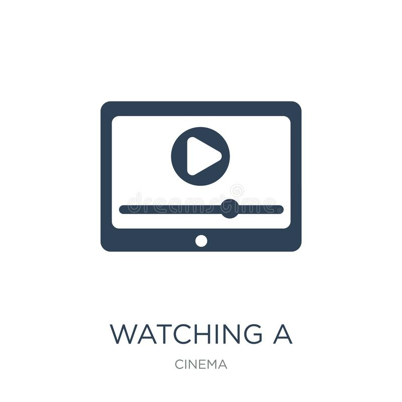 watching a video on a tablet icon in trendy design style. watching a video on a tablet icon isolated on white background. watching royalty free illustration