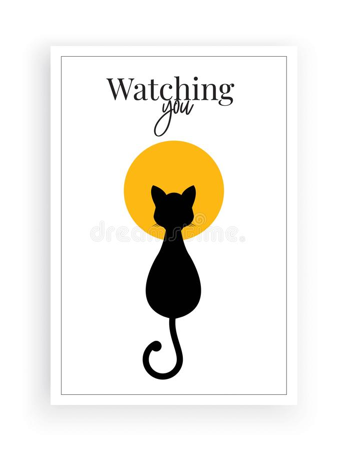 Free Watching You, Wall Decals Vector, Minimalist Poster Design, Cat Silhouette On Full Moon Illustration, Wall Artwork Stock Photo - 154267860