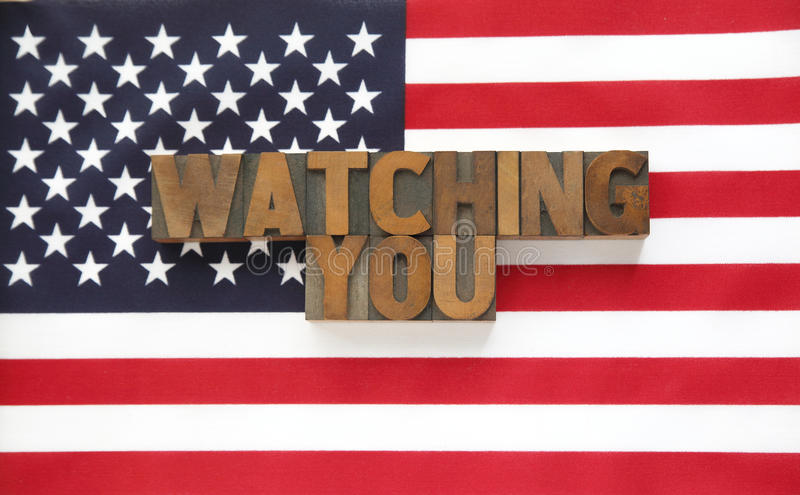 Download Watching You In Wood Type On Flag Stock Image - Image of blue, background: 34189917