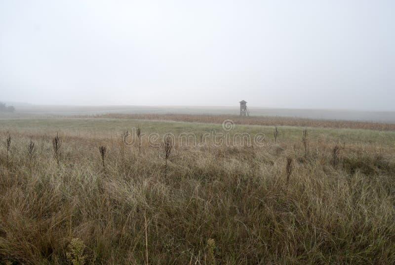 Watchtower in de mist stock foto