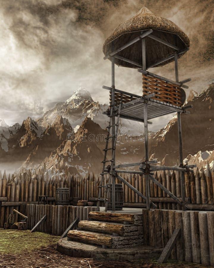 Watchtower in een oude regeling royalty-vrije illustratie