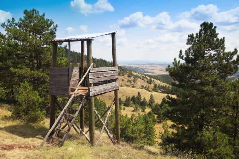 Watchtower at landscape of mountain stock photography