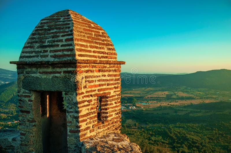 Watchtower made of bricks over cliff in Marvao royalty free stock photos