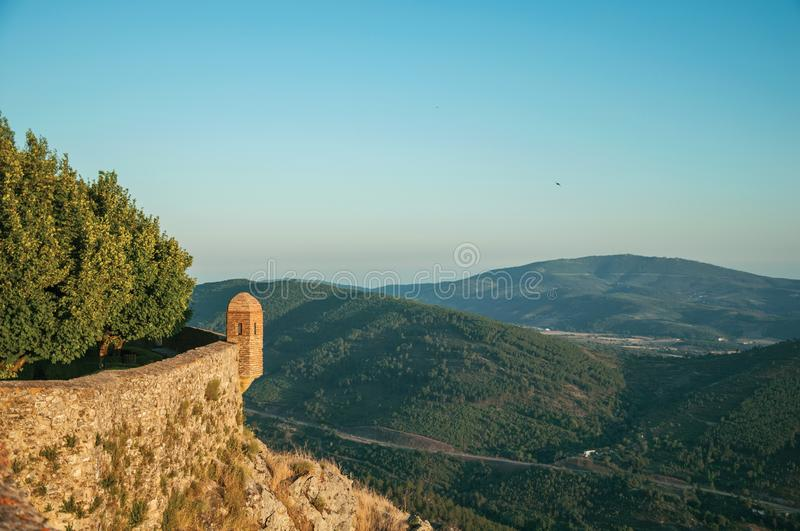 Watchtower made of bricks over cliff in Marvao royalty free stock image