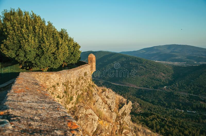 Watchtower made of bricks over cliff in Marvao stock photo