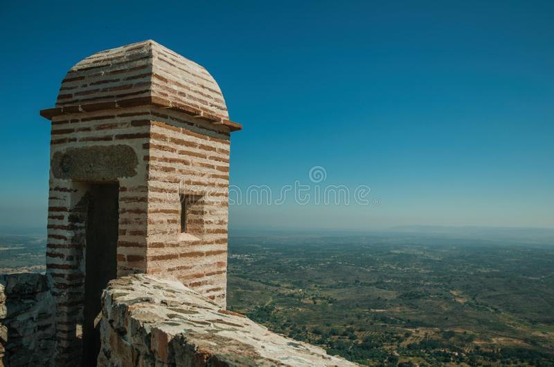 Watchtower made of bricks and wall at the Marvao Castle royalty free stock image