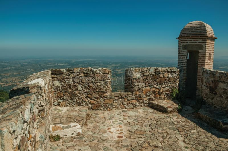 Watchtower made of bricks and wall at the Marvao Castle stock photo