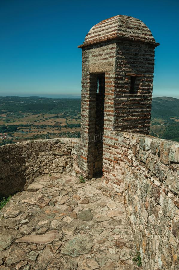 Watchtower made of bricks and wall at the Marvao Castle stock images