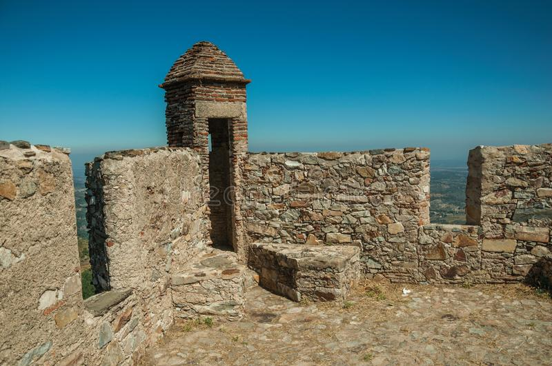 Watchtower made of bricks and wall at the Marvao Castle royalty free stock photo