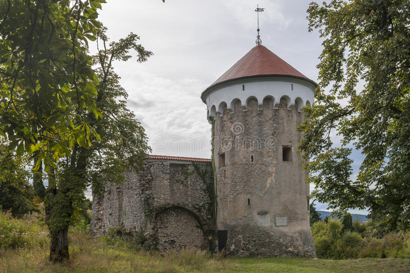 Watchtower and medieval ruins of Kalc Kalec castle, Pivka, Slo stock photography