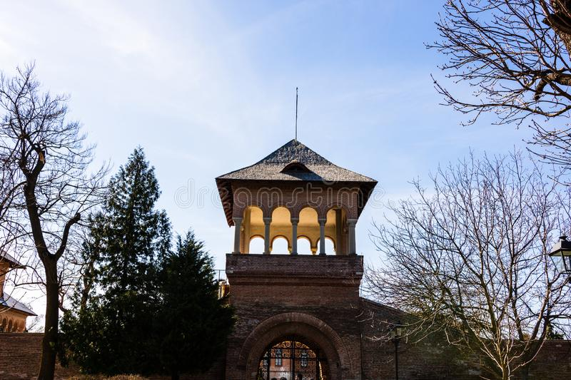 Watchtower at Mogosoaia Palace near Bucharest, Romania.  royalty free stock images