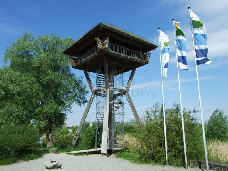 Watchtower nära Bodensee sjön i Kreuzlingen arkivbild
