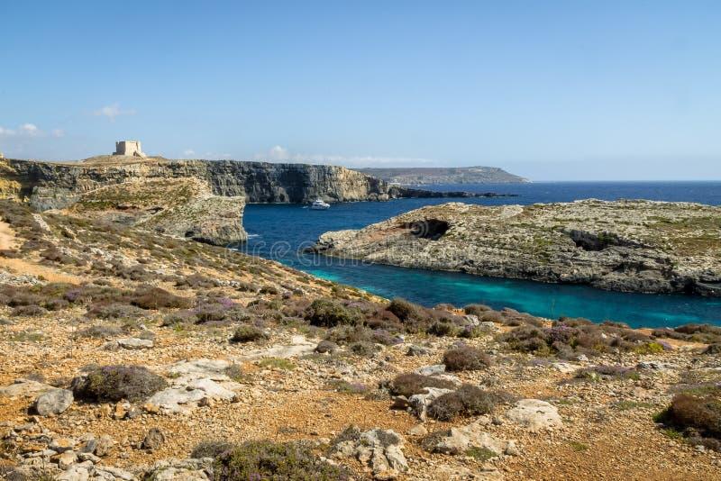 Watchtower nära den blåa lagun i den Comino ön - Gozo, Malta fotografering för bildbyråer