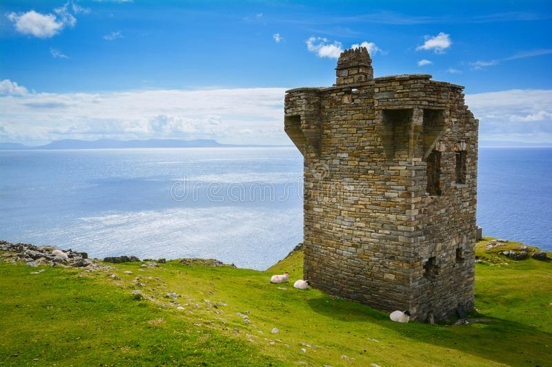 Watchtower near the Slieve League, County Donegal, Ireland stock image