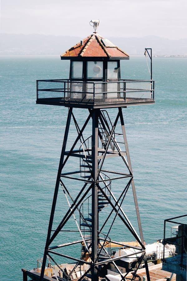 Watchtower op Alcatraz-Eiland, San Francisco Bay stock foto