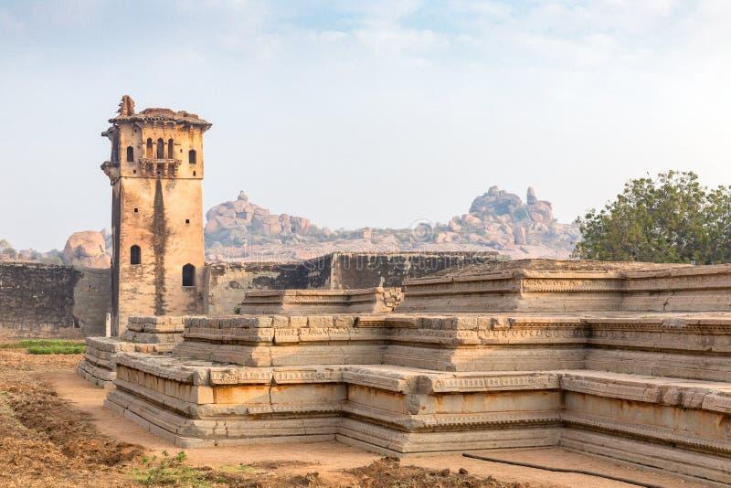 Watchtower and remains of a palace, Hampi, Karnataka, India stock images