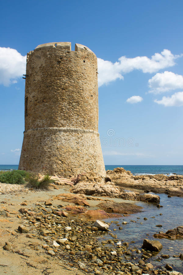 Watchtower on the sea in Sardinia royalty free stock images