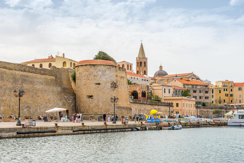 Watchtowers on the city walls in Alghero stock image