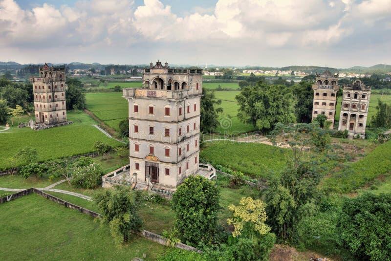 Watchtowers van Kaiping Diaolou in de provincie van Guangdong in China stock foto's