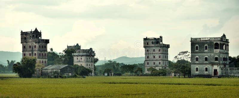 Watchtowers van Kaiping Diaolou in de provincie van Guangdong in China royalty-vrije stock foto's