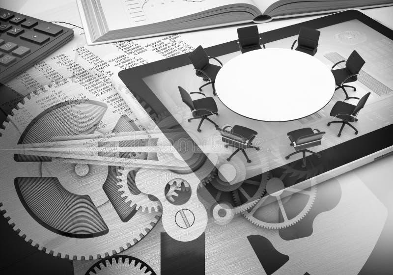 Watchwork toczy z książką, pastylka, biuro stół ilustracji