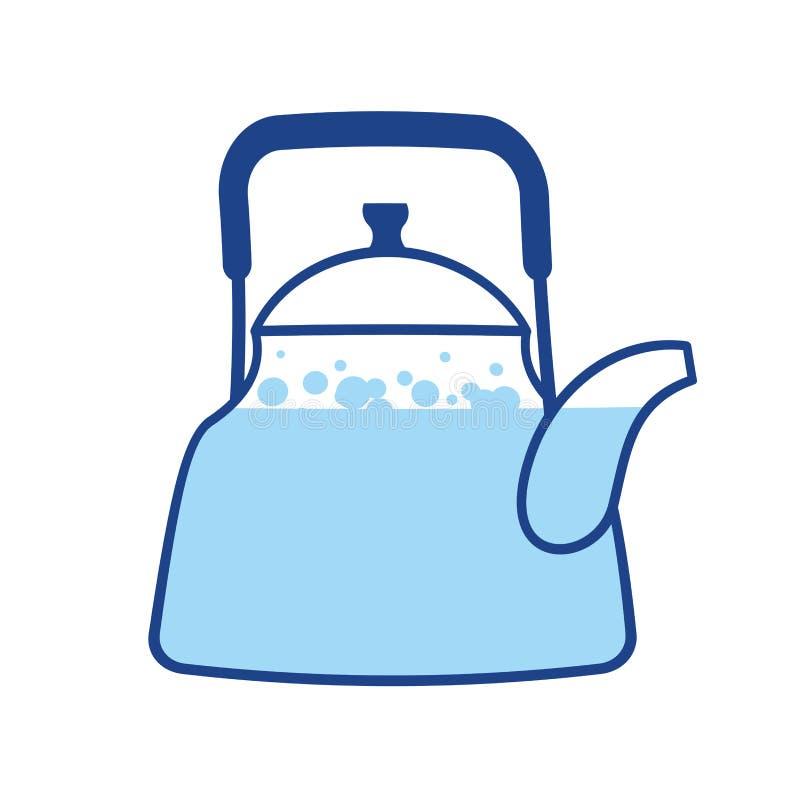 Wate de ebulição da chaleira Teapot sujo antigo isolado Utensílios da cozinha crockery ilustração royalty free